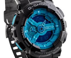 light blue g shock watch casio g shock ga 110b 1a2 watch black light blue great daily