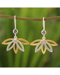 thailand earrings amazing deal on gold plated amethyst flower earrings thai lotus