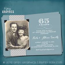 65 wedding anniversary blue silver 65th wedding anniversary invitation or