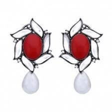 karigari earrings studs stud earrings for women in floral design with kundan and