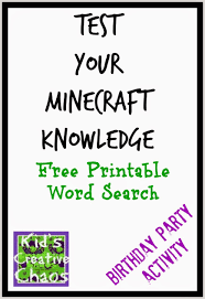 free printable minecraft crossword search test your minecraft