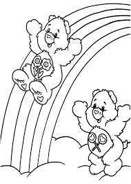 care bears sliding rainbow coloring pages care bears