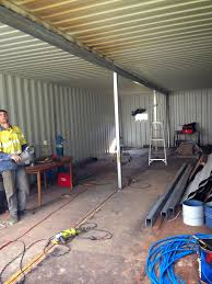 shipping container house open plan steel beam fitting