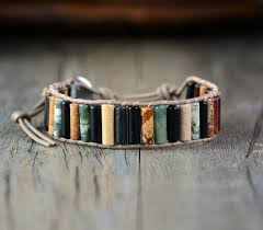 leather wrap bracelet with stones images Earth spirit natural stones single leather wrap bracelets bella jpg