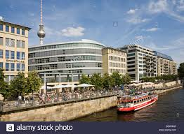 banks of the spree river spree palais new buildings shipping