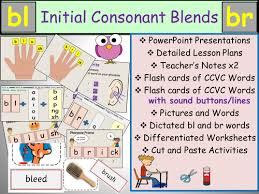 phonics phase 4 initial blends bl br ccvc words presentations