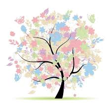 floral tree in pastel colors for your design stock