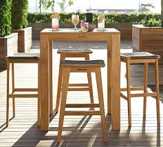Pottery Barn Bar Stools Madera Teak Square Fixed Bar Height Table U0026 Palmer Barstool Set