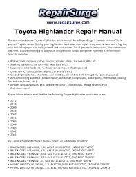 toyota highlander 2010 manual toyota highlander repair manual 2001 2011