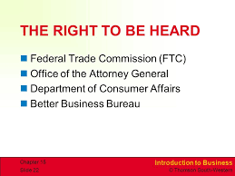 bureau of consumer affairs introduction to business thomson south chapterchapter