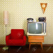 Livingroom Wallpaper Vintage Room With Wallpaper Old Fashioned Armchair Retro Tv