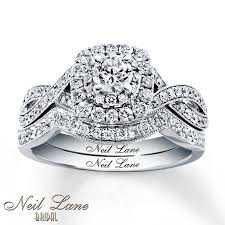 Wedding Set Rings by Kay Neil Lane Bridal Set 7 8 Ct Tw Diamonds 14k White Gold