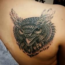 Owl Shoulder - grey ink owl on right back shoulder by berat bumin