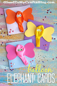 balloon elephant card kid craft craft summer and cards