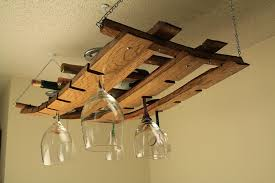 amazon com hanging wine bottle and glass rack made from oak wine