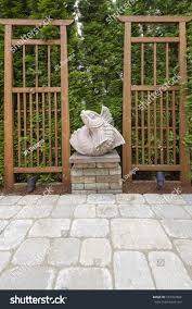 asian koi fish stone sculpture garden stock photo 107762864