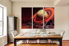 Dining Room Wall Art 3 Piece Canvas Wall Art Landscape Huge Canvas Print Orange Large