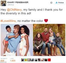 Interracial Relationship Memes - twitter ad from old navy that features interracial family