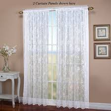 seslee embroidered white sheer curtain panel