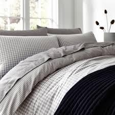 linea logan gingham flannel duvet cover set house of fraser