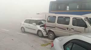 watch video amid dense smog several vehicles crash into each