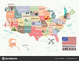 Images Of The Map Of The United States by Map Of The United States Of America With Famous Attractions