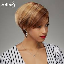soft straight blonde highlight synthetic fashion short haircut wig