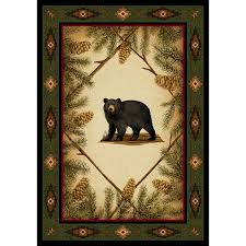 Rustic Cabin Lodge Area Rugs Bear Area Rug Roselawnlutheran