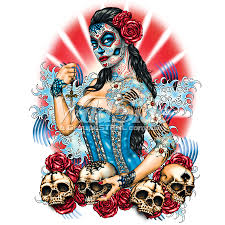 day of the dead pinup with skulls and roses wildside