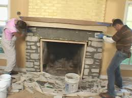 install a fireplace mantel and add stone veneer facing how tos diy rough up edges of stones