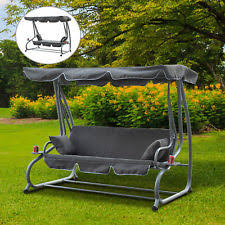 outdoor hammock swing chair patio 3 person lounge bench metal
