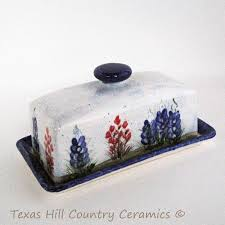 french country style rectangle butter dish and lid hand painted