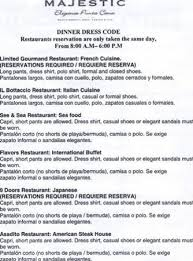 list of restaurants and dress code picture of majestic elegance