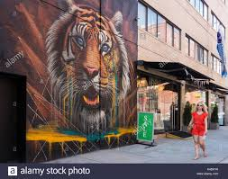 wall painting tiger stock photos wall painting tiger stock a blond young female tourist passing a giant image of a tiger on a wall in