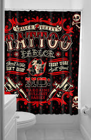 Skull And Crossbones Shower Curtain Inked Boutique Sailor Betty Shower Curtain Tattoo Parlor Tattoo