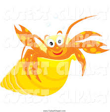 cartoon vector clip art of a happy hermit crab in a yellow shell