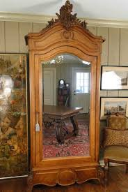 Mirror Armoire Wardrobe 1890 Antique French Linen Wardrobe With Beveled Mirror And