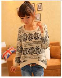 shipping long sleeve oversized sweaters for women vintage totem