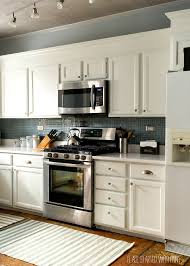 Painted Backsplash Ideas Kitchen Builder Grade Kitchen Makeover With White Paint