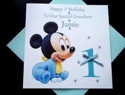 Mickey Mouse 1st Birthday Card Handmade Personalised Baby Mickey Mouse 1st Birthday Card Grandson