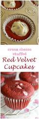 red velvet cupcakes with cream cheese surprise inside little