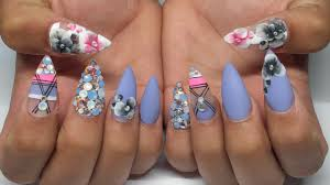 blue opal bling floral acrylic nails youtube
