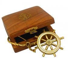 box keychain ship s wheel keychain in box home accessories furniture