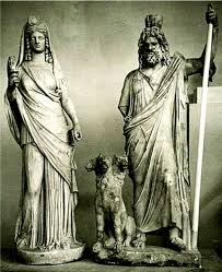 Statues Of Gods by The God Serapis And His Consort Isis With The Three Headed Dog