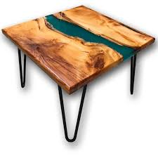 Yew Side Table Yew Wood Green Resin River Side Table