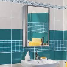 armadietto bagno con specchio homcom armadietto pensile da bagno con specchio in acciaio inox