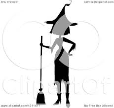 cartoon of a black silhouetted witch with a hand on her hip and a
