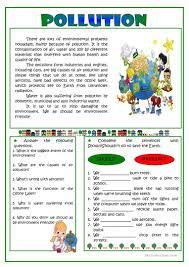 pollution reading worksheet free esl printable worksheets made