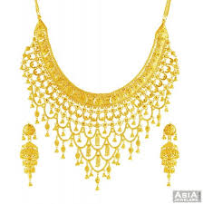 gold bridal set 22k gold bridal necklace set ajns56078 22k yellow gold bridal
