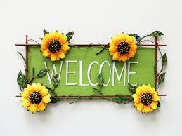 sunflower kitchen decor wayfair sunflower welcome sign wall decor